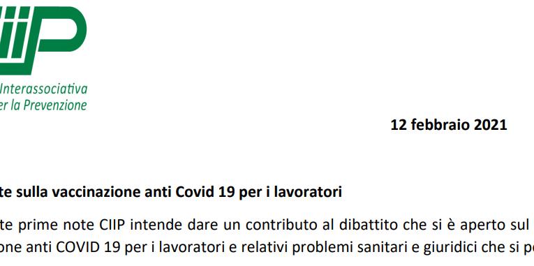 Vaccinazione anti Covid 19 per i lavoratori