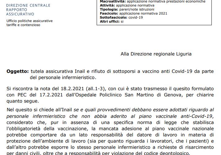 Rifiuto vaccino anti Covid-19