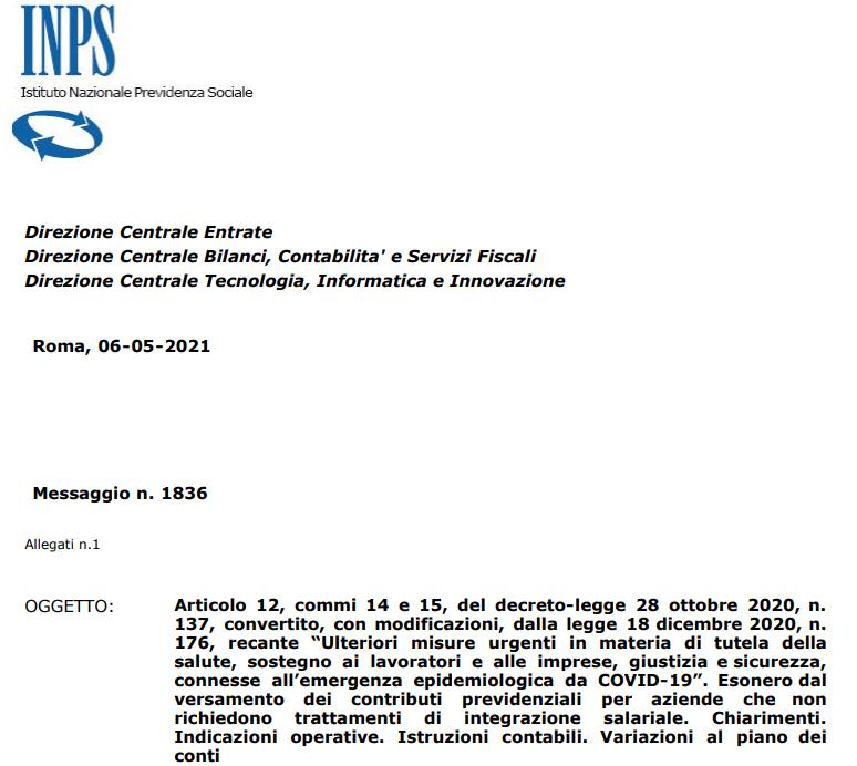 COVID-19: esonero contributivo per le aziende ai sensi del Decreto Ristori