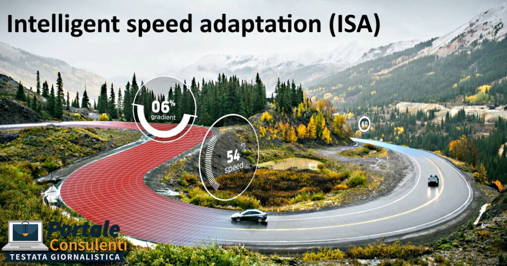 """isa Il sistema Intelligent speed adaptation (ISA), traducibile come """"sistema di adattamento intelligente della velocità"""", è un qualsiasi sistema con cui è possibile variare la velocità di un veicolo a seconda del limiti imposti sulla strada attraversata[1]. Le informazioni sul limite si ricavano da apparecchiature analoghe a quelle di navigazione satellitare."""