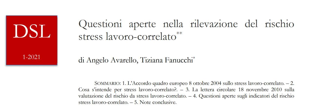 L'Accordo quadro europeo 8 ottobre 2004 sullo stress lavoro-correlato