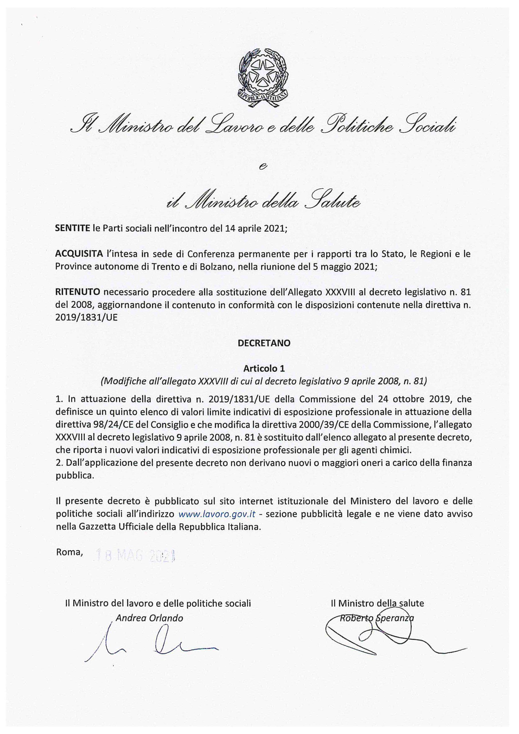 Decreto 18 maggio 2021
