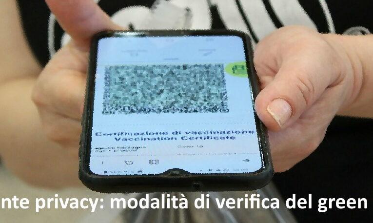 Garante privacy: modalità di verifica del green pass