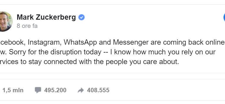 Whatsapp, Instagram e Facebook down. Perchè