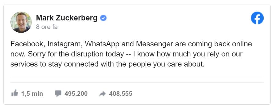 WhatsApp, Facebook e Instagram down, stop in tutto il mondo