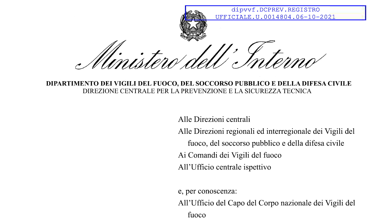 Chiarimento Ministero dell'Interno Vigili del Fuoco